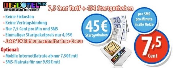 Discotel: Prepaidtarif mit bis zu 55 € Guthaben als Startpaket für 4,95 €