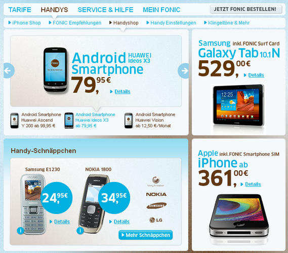 Günstige Smartphones bei Fonic
