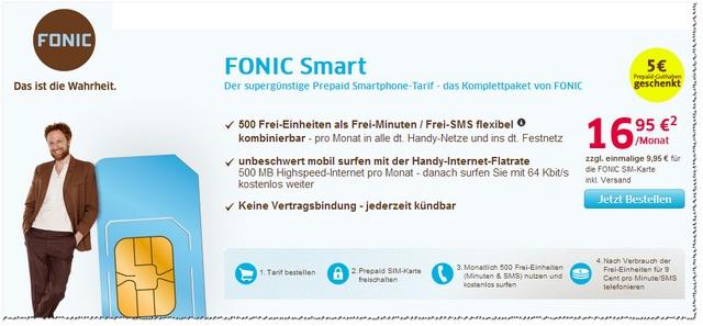 FONIC Smart: Quasi-Allnet-Flatrate für 16,95 €