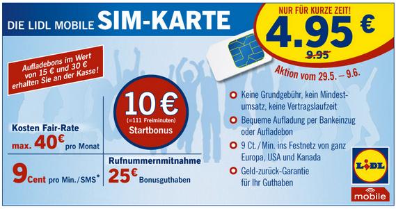 LIDL Mobile SIM-Karte für 4,95 €