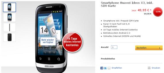 Tchibo: Huawei Ideos X3 für nur noch 49,95 €