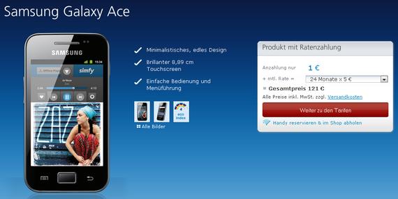Samsung Galaxy Ace für 125,95 €
