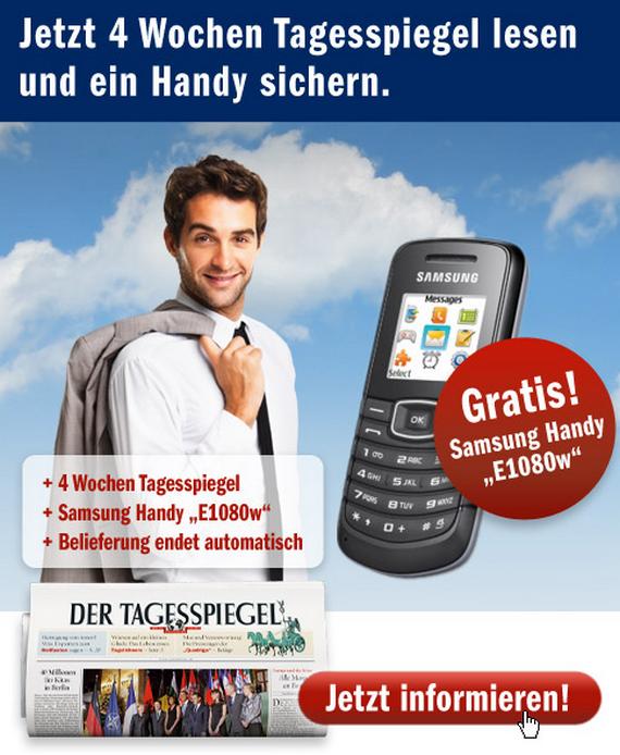 Samsung E1080w gratis zum Tagesspiegel-Abo