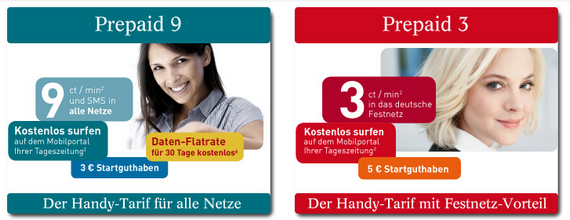 Wirmobil Prepaid-Tarife Prepaid 3 und Prepaid 9