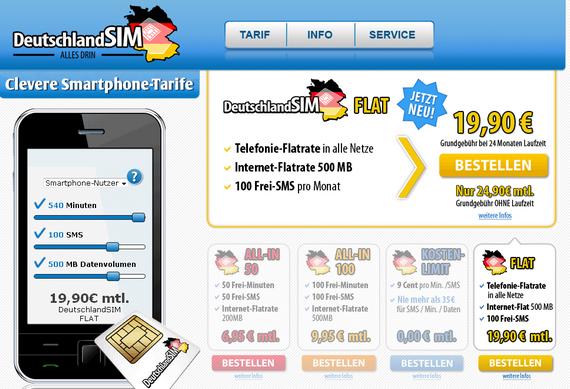 Deutschland SIM: Neue Tarifstruktur, 100-Frei-SMS