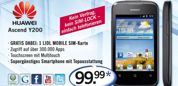 Android-Smartphone Huawei Ascend Y200 schon jetzt im Online-Shop von Lidl