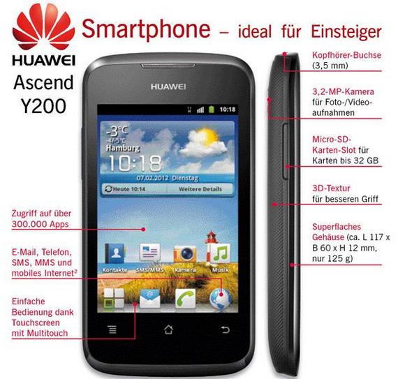 Das Huawei Ascend Y200 ist online bereits verfügbar