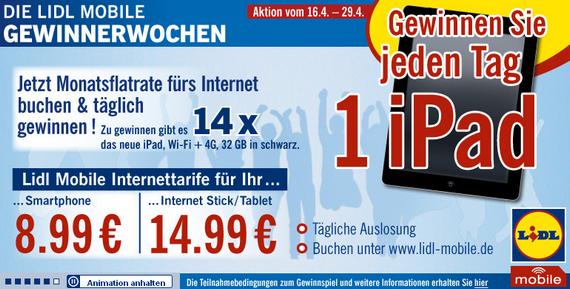 Lidl Mobile Gewinnerwochen (Screenshot)