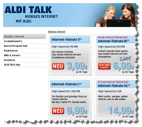 Aldi Talk: Neue Datentarife (Screenshot, Quelle: alditalk.de)