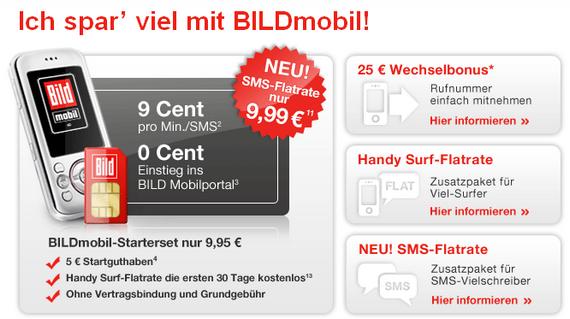 BILD mobil führt neue SMS-Flatrate (1.500 SMS/30 Tage) ein