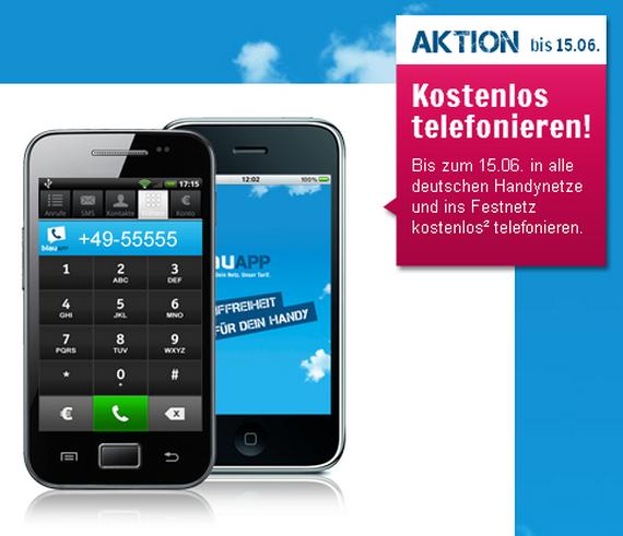 BlauApp-Nutzer können bis zum 15. Juni 2012 kostenlos telefonieren