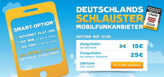 Blau.de: Prepaid-Karte für 9,90 € aktuell mit 15 € Guthaben