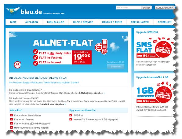 Blau.de Allnet-Flat ist ab dem 5. Juni 2012 online bestellbar