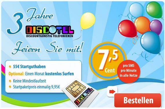 Discotel: Disco-Plus-Prepaid-Karte inkl. 55 € Guthaben zum 3. Geburtstag
