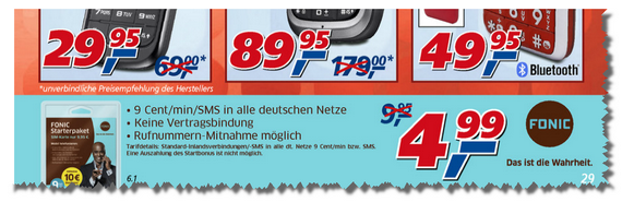 Fonic-Startpaket in Real-Filialen in dieser Woche nur 4,99 €