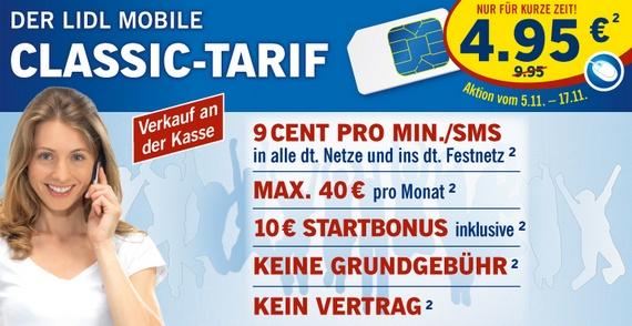 Lidl Mobile Classic: Prepaid-Tarif kurze Zeit nur 4,95 € statt 9,95 €