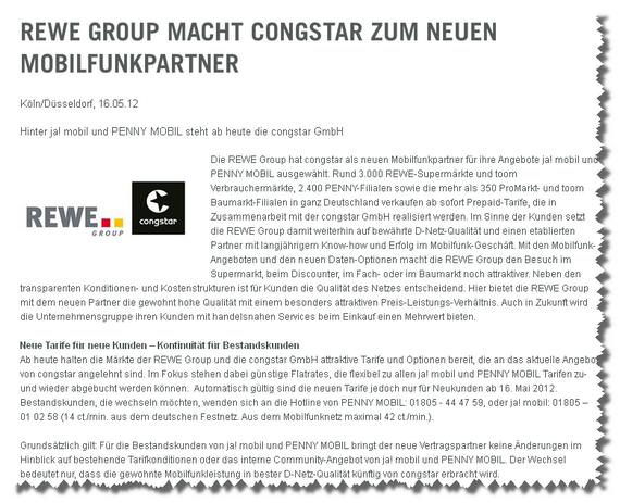 Pressemitteilung REWE Group (Ausriss)
