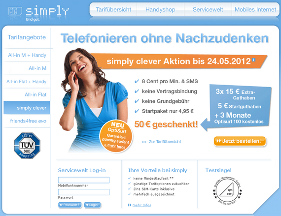 Simply: Tarif-Aktion mit 50 € Startguthaben und 3 Monaten Gratis-Surf-Flat