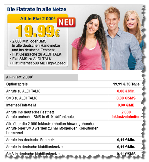 Aldi Talk: All-In-Flat 2.000 startet am 14. Juni 2012