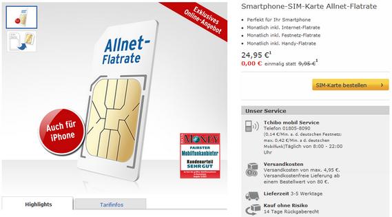 Tchibo mobil Allnet Flat Startpaket gratis
