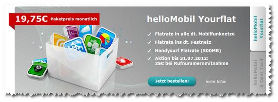 Hellomobil startet Allnet Flat Yourflat