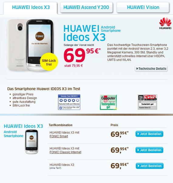 Huawei Ideos X3 White bei Fonic