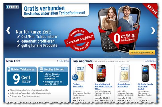 """Kostenlos """"tchibofonieren"""" mit Handy oder Smartphone ab 6. August 2012 (Screenshot)"""