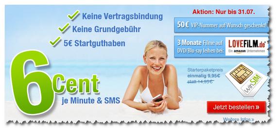 winSIM: Prepaid-Starterpaket 5 € günstiger