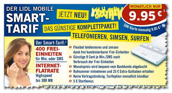 Lidl Mobile Smart-Tarif: Start am 20. August 2012