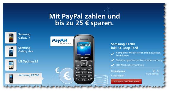 Paypal-Aktion mit O2 Loop: Samsung E1200 kostenlos (Screenshot)