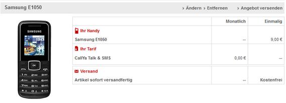 Samsung E1050 mit Vodafone CallYa für 9 €