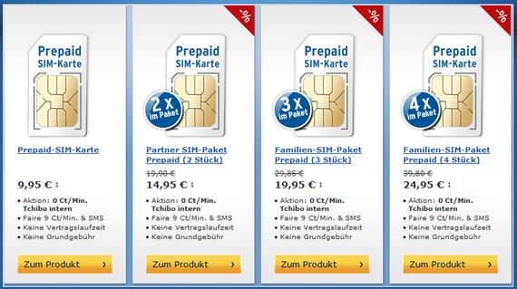 Tchibo mobil: Startpaket-Preise (Mengenrabatte, Screenshot)