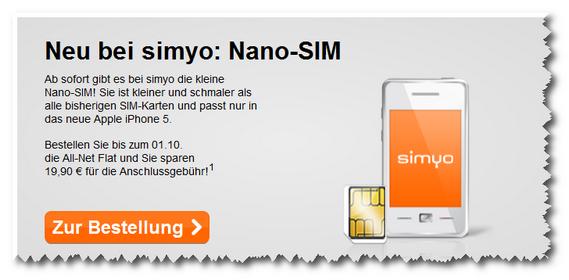 Simyo: Nano-SIM-Karte für 4,90 €