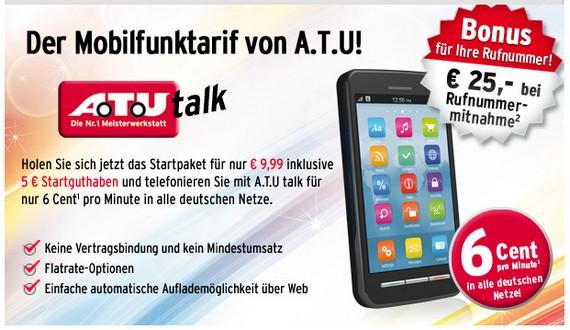 A.T.U talk mit neuer Tarifstruktur