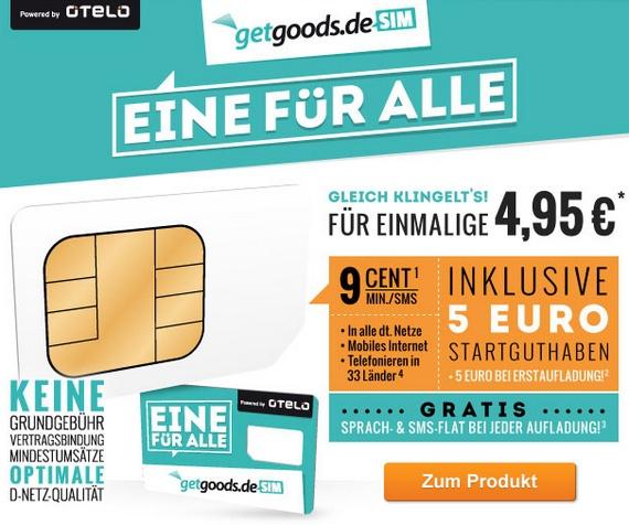 Getgoods.de startet mit dem Prepaid-Angebot Getgoods.de SIM