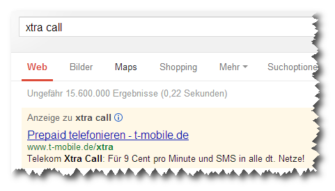Xtra Call der Telekom: Anzeige bei Google