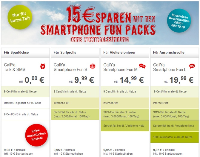 vodafone callya smartphone fun pack mit 15 preisvorteil. Black Bedroom Furniture Sets. Home Design Ideas