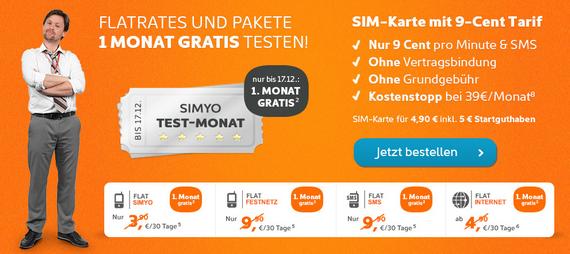 Simyo: Prepaid-Karte mit kostenlosem Test-Monat