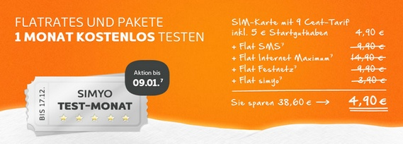 Simyo Test-Monat: Kostenlos Optionen und Flatrates testen