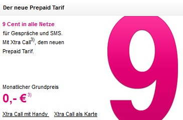 Xtra Call im 9-Cent-Tarif
