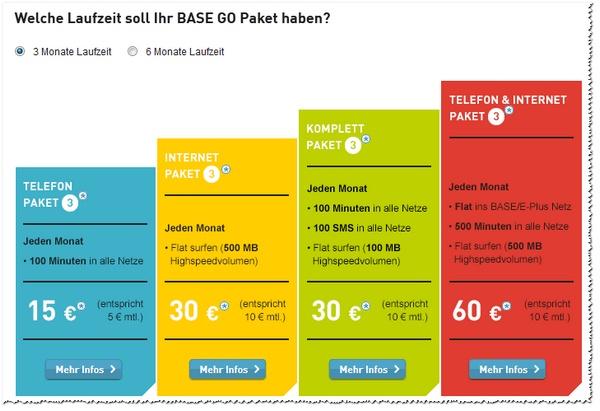 Diese BASE-GO-Tarifpakete gibt es für 3 und 6 Monate Laufzeit