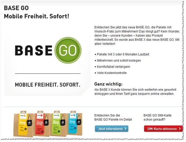 BASE Go: Aktivierungs-Webseite online