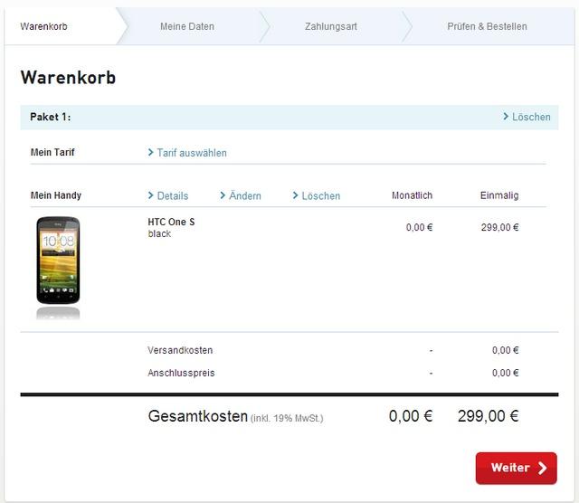 Screenshot vom Warenkorb (BASE-Bestellung von HTC One S)