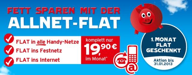 Blau.de: Allnet-Flat 1 Monat kostenlos im Januar 2013