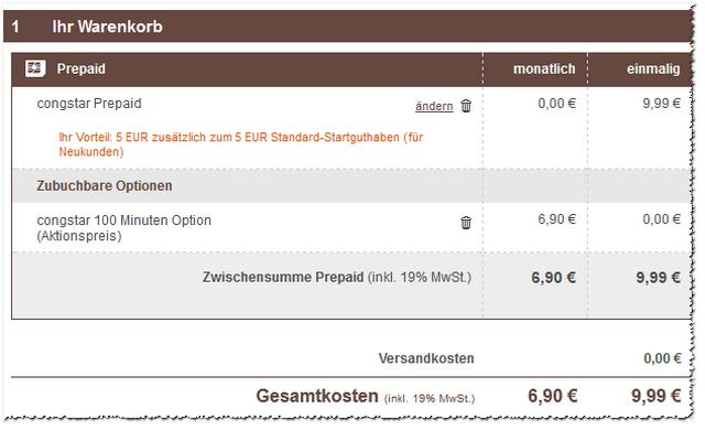 100 Minuten Option bei congstar 1 € günstiger
