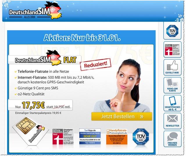 Deutschland SIM Flat mit reduzierter Grundgebühr (Screenshot)