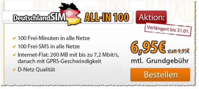DeutschlandSIM ALL-IN 100 Vodafone (D2-Netz)