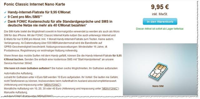 FONIC Nano SIM Karte im Tarif Classic Internet