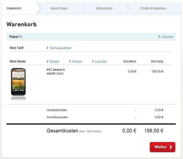 HTC Desire X für einmalig 199 € online bei BASE