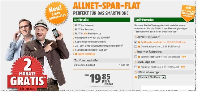 Klarmobil Allnet-Spar-Flat sogar bis 28.02.2013 gratis für 2 Monate